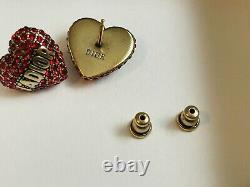 Christian Dior Red Heart Earrings. Same day shipping