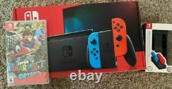 Nintendo Switch 32GB Neon Blue Red + Mario Odyssey Charger Bundle SAME DAY SHIP