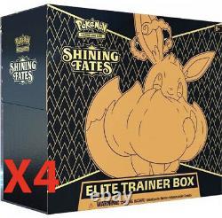 SHIPS SAME DAYIN HAND Pokemon Shining Fates Elite Trainer Box ETB (LOT OF 4)