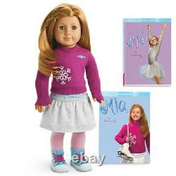 American Girl Mia Doll + 2 Livres Poupée De L'année 2008 Expédition Rapide Le Même Jour