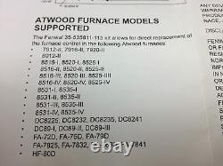 Atwood Hydro Flame Furnace Pc Kit De Planche Part 31501,33488,33727 Navire Du Même Jour