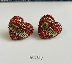 Boucles D'oreilles Du Cœur Rouge Christian Dior. Expédition Le Même Jour