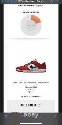 Nike Dunk Low Par Vous 365 Chicago Taille Us 11 In Hand Ships Le Même Jour